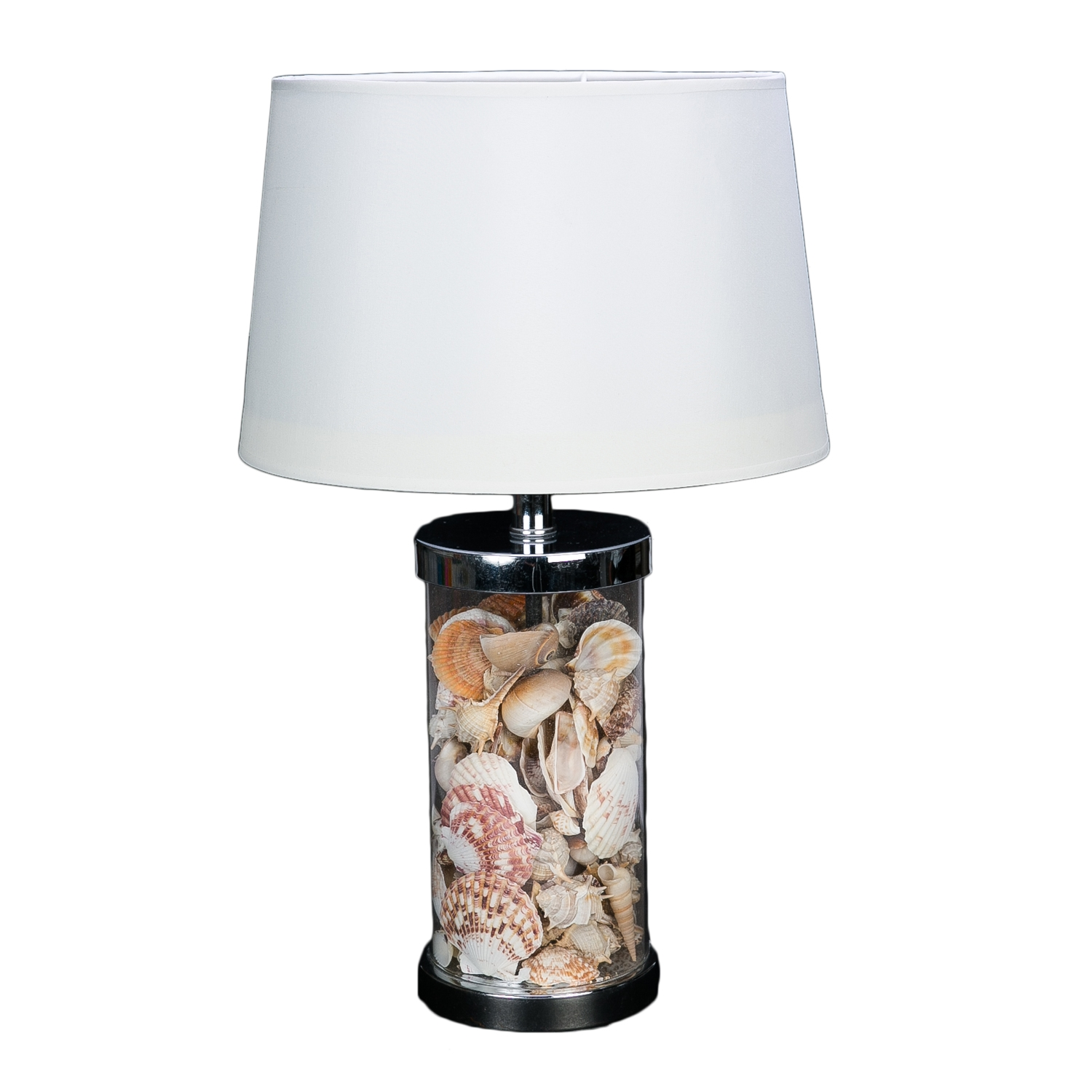 LampBeachcombers Coastal Table Life Shell Filled Round Ygy6vbf7